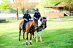 Watertown, CT- 18 May 2017-051817CM15-  Waterbury mounted police officers, Jose Diaz, left, and Dan Jones attend the the annual Greater Waterbury Campership Fund picnic at Camp Mataucha in Watertown on Thursday. The fundraiser featured a myriad of pizza options, music from the Holy Cross students  with proceeds allowing children to go to summer camp.    Christopher Massa Republican-American