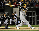 CHICAGO - APRIL 12:  Hideki Matsui #55 of the Oakland Athletics bats against the Chicago White Sox on April 12, 2011 at U.S. Cellular Field in Chicago, Illinois.  The White Sox defeated the Athletics 6-5.  (Photo by Ron Vesely)  Subject:  Hideki Matsui