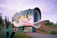 Artistic Folk Art Fish Mailbox along a Rural Road, in Alaska, USA