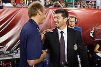 United States head coach Jurgen Klinsmann and Mexico head coach Jose Manuel de la Torre shake hands before the game. The men's national teams of the United States (USA) and Mexico (MEX) played to a 1-1 tie during an international friendly at Lincoln Financial Field in Philadelphia, PA, on August 10, 2011.