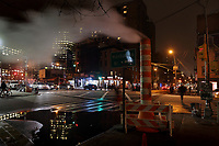 Intersection on Canal St at night, in Chinatown, Manhattan, New York, New York, USA. This is the largest enclave of Chinese people in the Western Hemisphere and one of 9 Chinatown districts in New York City. Picture by Manuel Cohen