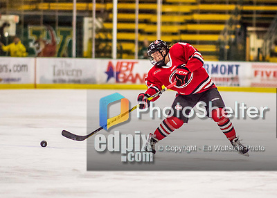 25 November 2016: Saint Cloud State Huskie Defender Brittney Anderson, a Junior from Hudson, WI, in action against the University of Vermont Catamounts at Gutterson Fieldhouse in Burlington, Vermont. The Lady Cats defeated the Huskies 5-1 to take the first game of the 2016 Windjammer Classic Tournament. Mandatory Credit: Ed Wolfstein Photo *** RAW (NEF) Image File Available ***