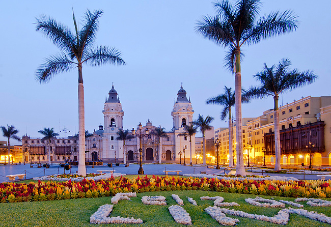 Peru, Lima, Cathedral Of Lima, 16th Century, Plaza Mayor Or Plaza de Armas, UNESCO World Heritage Site