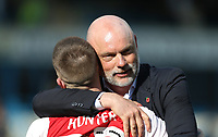 Fleetwood Town manager Uwe Rosler celebrates at the end of the game with Ashley Hunter<br /> <br /> Photographer Rob Newell/CameraSport<br /> <br /> The EFL Sky Bet League One - Gillingham v Fleetwood Town - Saturday 22nd April 2017 - MEMS Priestfield Stadium - Gillingham<br /> <br /> World Copyright &copy; 2017 CameraSport. All rights reserved. 43 Linden Ave. Countesthorpe. Leicester. England. LE8 5PG - Tel: +44 (0) 116 277 4147 - admin@camerasport.com - www.camerasport.com