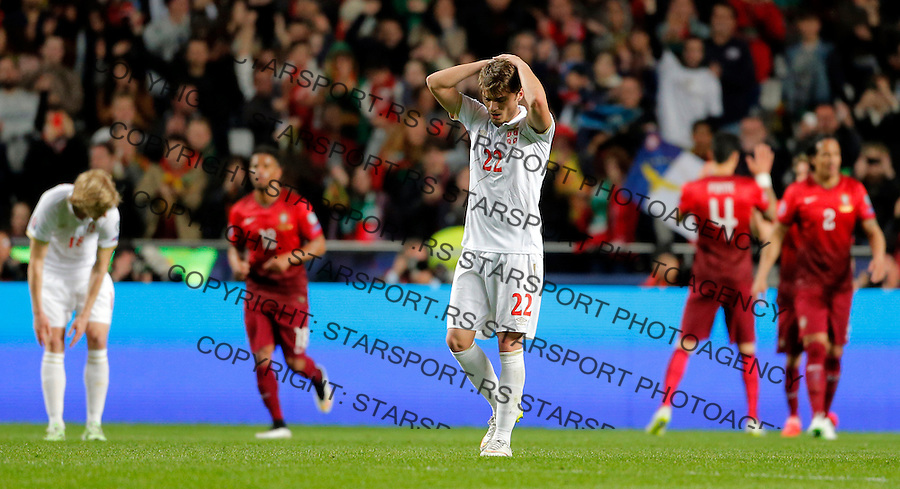 Adem Ljajic Uefa EURO 2016 qualifying football match between Portugal and Serbia in Lisboa, Portugal on March 29. 2015.  (credit image & photo: Pedja Milosavljevic / STARSPORT)