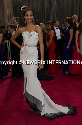 """ZOE SALDANA..Red Carpet arrival for the 85th Annual Academy Awards, Dolby Theatre, Hollywood, Los Angeles_23/02/2013.Mandatory Photo Credit: ©Dias/Newspix International..**ALL FEES PAYABLE TO: """"NEWSPIX INTERNATIONAL""""**..PHOTO CREDIT MANDATORY!!: NEWSPIX INTERNATIONAL(Failure to credit will incur a surcharge of 100% of reproduction fees)..IMMEDIATE CONFIRMATION OF USAGE REQUIRED:.Newspix International, 31 Chinnery Hill, Bishop's Stortford, ENGLAND CM23 3PS.Tel:+441279 324672  ; Fax: +441279656877.Mobile:  0777568 1153.e-mail: info@newspixinternational.co.uk"""
