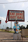 """Eat here, get gas"" sign at a gas station and restaurant in Tipton, Indiana, IN, USA"