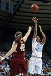 01 February 2015: North Carolina's Hillary Summers (30) shoots over Boston College's Katie Quandt (42). The University of North Carolina Tar Heels hosted the Boston College Eagles at Carmichael Arena in Chapel Hill, North Carolina in a 2014-15 NCAA Division I Women's Basketball game. UNC won the game 72-60.