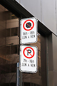 Parking restrictions sign in downtown Montreal