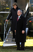 President George W. Bush and First Lady Laura Bush return to the White House in Washington after spending the holidays at Camp David and the Bush ranch in Crawford, Texas on January 1, 2008. (UPI Photo/Kevin Dietsch)