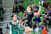 Andrea Lekic  of Gyori  vs Barbara Varlec Lazovic of Krim during handball match between RK Krim Mercator and Gyori Audi ETO KC (HUN) in 3rd Round of Group B of EHF Women's Champions League 2012/13 on October 28, 2012 in Arena Stozice, Ljubljana, Slovenia. (Photo By Vid Ponikvar / Sportida)