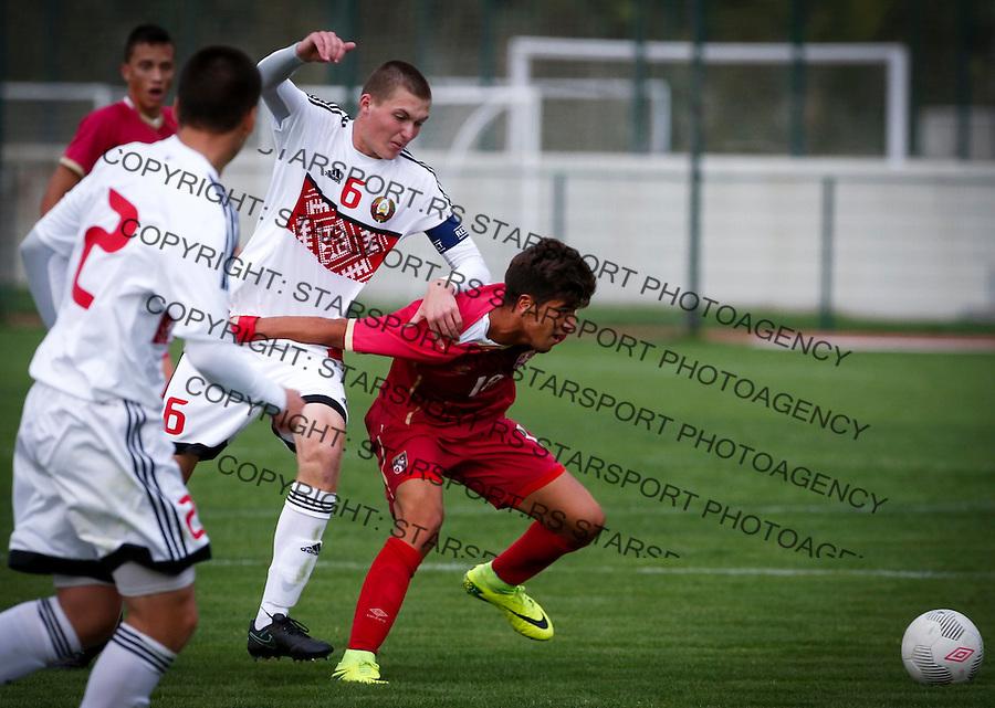 Fudbal Soccer<br /> International Friendly-Prijateljski mec<br /> Srbija U17 v Belorusiaj U17<br /> Stefan Stankovic (R)<br /> Stara Pazova, 20.09.2016<br /> foto: Srdjan Stevanovic/Starsportphoto &copy;