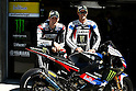 July 22, 2010 - Laguna Seca, USA -  Monster Yamaha Tech 3 team's American riders Ben Spies left) and Colin Edwards (right) pose next to one of the team's bikes prior the U.S. Grand Prix held on July 25, 2010. (Photo Andrew Northcott/Nippon News)