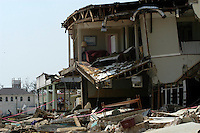 The destruction to Historic Old Town Bay St. Louis  after it was destroyed by Hurricane Katrina Sunday Sept, 11, 2005.