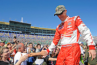 Soon to be Cup Champion Kevin Harvick greets fans at Kansas Speedway.