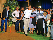 United States President George H.W. Bush plays horseshoes with Prime Minister Toshiki Kaifu of Japan, Prime Minister Brian Mulroney of Canada and Denis Thatcher, husband of Prime Minister Margaret Thatcher of Great Britain, during the Economic Summit in Houston, Texas on July 8, 1990.<br /> Credit: Ron Sachs / CNP