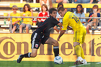 26 JUNE 2010:  Dejan Jakovic #5 of DC United  and Robbie Rogers of the Columbus Crew (18) during MLS soccer game between DC United vs Columbus Crew at Crew Stadium in Columbus, Ohio on May 29, 2010. The Crew defeated DC United 2-0.