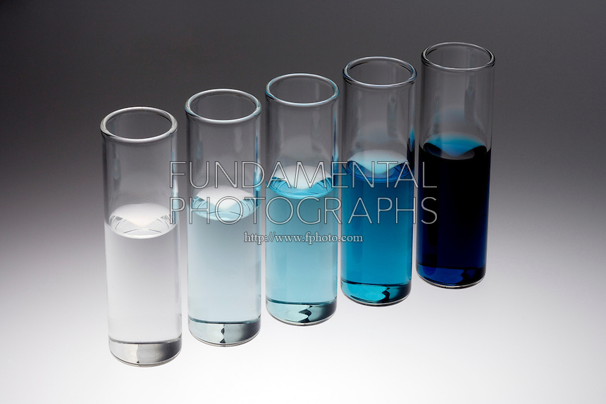 DILUTION OF A CONCENTRATED SOLUTION<br /> Five Stages of Dilution of Copper Nitrate<br /> A concentrated solution of Copper Nitrate is diluted  in 9 times its mass of water, making a 1 part in 10 solution. The second solution is a ten-fold dilution of the first making a 1 part in 100 and so on until the solution is virtually clear..