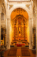 Salamanca (Wednesday, October 24, 2012) Convent of San Esteban interior. The church facade, complete with it's 'dustcover' and fine ornamentation that seems to turn to gold when touched by sunlight, constitutes one of the most complete illustrations of Spanish Renaissance. The beautiful convent cloister combines a Gothic design with Renaissance decorative elements, as is the case with buildings erected throughout the 16th century. Salamanca is a city in northwestern Spain, the capital of the Province of Salamanca in the community of Castile and León. Its Old City was declared a UNESCO World Heritage Site in 1988. With a metropolitan population around 192,000 it is the second most populated urban area in Castile and León, after Valladolid (369,000), and closely followed by Leon (187,000) and Burgos (176,000)...It is the most important university city in Spain and supplies 16% of Spain's market for the teaching of the Spanish language.[1][2] Salamanca attracts thousands of international students,[3] generating a diverse environment...It is situated approximately 200 km (120 mi) west of the Spanish capital Madrid and 80 km (50 mi) east of the Portuguese border. The University of Salamanca, which was founded in 1218, is the oldest university in Spain and the third oldest western university, but the first to be given its status by a Pope (Alexander IV).Photo: joliphotos.com
