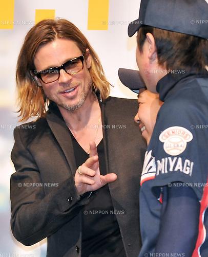 "Brad Pitt, Nov 09, 2011 : Brad Pitt, Angelina Jolie, Tokyo, Japan, Nobemver 9, 2011 : Actor Brad Pitt attends the Japan premiere for the film ""Moneyball"" in Tokyo, Japan, on Nobemver 9, 2011."