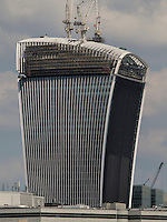 Walkie Talkie Building, 20 Fenchurch Street with Temporary Sunshade to prevent sunlight being reflected and damaging properties, London, Britain - Jun 2014.