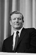 Manhattan, New York City, USA. April 1st, 1968. Mayor John Lindsay at a press conference for Democratic Senator and presidential candidate Robert Kennedy.