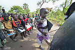 A girl recites the alphabet at the Loreto Primary School in Rumbek, South Sudan. The school is run by the Institute for the Blessed Virgin Mary--the Loreto Sisters--of Ireland.