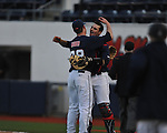 Ole Miss' Brett Huber (38) and catcher Will Allen (30) vs. North Carolina-Wilmington at Oxford-University Stadium in Oxford, Miss. on Friday, February 24, 2012. Ole Miss won 2-0.