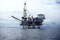 An off-shore oil rig, off the Santa Barbara Coast, near the Channel Islands.