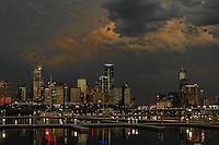 Melbourne, Australia skyline with storm.<br /> <br /> Larger JPEG + TIFF images available by contacting use through our contact page at :..www.photography4business.com