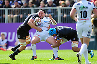 Francois Da Ros of Brive is double-tackled. European Rugby Challenge Cup Quarter Final, between Bath Rugby and CA Brive on April 1, 2017 at the Recreation Ground in Bath, England. Photo by: Patrick Khachfe / Onside Images