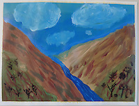 This landscape was the result of watching a video on the subject painting clouds. The rest of the painting just arrived on it's own.<br /> <br /> I like the rest of the painting better than the clouds.<br /> <br /> Painted on 9 x 12 canvas paper.
