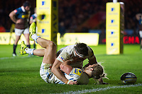 Michele Campagnaro of Exeter Chiefs celebrates his first half try with team-mate Don Armand. Aviva Premiership match, between Harlequins and Exeter Chiefs on April 14, 2017 at the Twickenham Stoop in London, England. Photo by: Patrick Khachfe / JMP