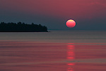 red sun, solstice sunset, Lake Superio