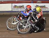 Heat 10 - Jonsson (red), Swiderski (yellow) - Lakeside Hammers vs Peterborough Panthers - Sky Sports Elite League at Arena Essex, Purfleet - 31/08/07  - MANDATORY CREDIT: Gavin Ellis/TGSPHOTO - SELF-BILLING APPLIES WHERE APPROPRIATE. NO UNPAID USE. TEL: 0845 094 6026..