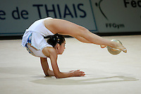 Anahi Sosa of Argentina flexibility with ball during exhibition before competition at 2006 Thiais Grand Prix in Paris, France on March 25, 2006.  (Photo by Tom Theobald)