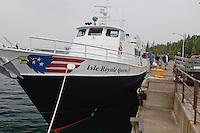 The Isle Royale Queen IV ferry ship in Copper Harbor Michigan.