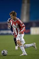 Chivas USA forward Justin Braun (17) dribbles toward the net. Chivas USA defeated the New England Revolution, 4-0, at Gillette Stadium on May 5, 2010.