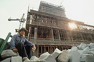 """October 1984. Near Beijing, under construction the """"Great Wall"""" Hotel, will be finished in one year."""