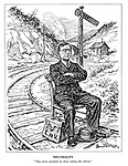 """Neutrality. """"They never consulted me about making this railway."""" (Eamon de Valera sits with his diplomatic bag on the railway tracks infront of the American signal post)"""