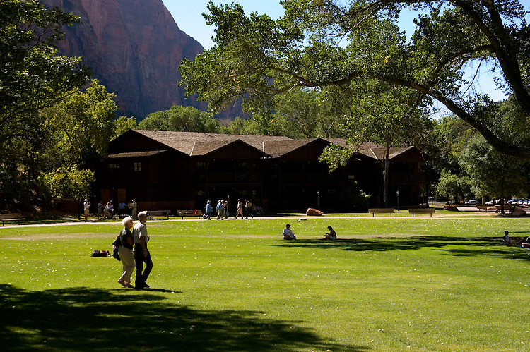 Zion National Park Lodge and lawn, Zion National Park, Utah, UT,  Southwest America, American Southwest, US, United States, Image ut378-17654, Photo copyright: Lee Foster, www.fostertravel.com, lee@fostertravel.com, 510-549-2202