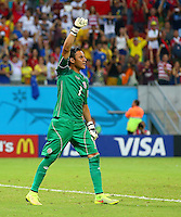 Costa Rica goalkeeper Keylor Navas celebrates after saving the penalty of Theofanis Gekas of Greece during the shootout