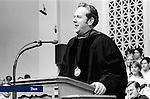 Jerry Falwell, Sr. speaks at Liberty Baptist College Graduation in May, 1977.