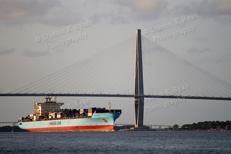 Arthur Ravenel Jr. Bridge charleston South Carolina Maersk Container SHip