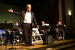 Waterbury, CT- 21  May 2017-052117CM07-  Peter Peluso acknowledges the Connecticut Accordion Association orchestra along with students from Wolcott High School during a concert at the Mattatuck Museum on Sunday.  The song list included a blend of movie classics including jazz, classical and popular music. The group is looking to reintroduce the accordion into schools through an initiative called Bellows Up: The Great Squeeze Project.  Christopher Massa Republican-American