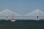 Arthur Ravenel Jr Bridge charleston south carolina over the cooper river, the Spirit of South Carolina sailboat