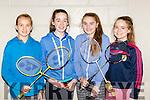 Deina Vesko Listowel, Ciara Hudson, Eva Browne and Aoife Bowler all Listowel at the juvenile badminton championships in Killarney on Sunday