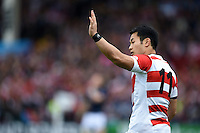 Kenki Fukuoka of Japan calls out to his backline. Rugby World Cup Pool B match between Scotland and Japan on September 23, 2015 at Kingsholm Stadium in Gloucester, England. Photo by: Patrick Khachfe / Onside Images