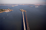 Aerial view of Route 64 Bridge-tunnel crossing the James River at Newport News-Hampton to Norfolk &amp; Virginia Beach in distance.  Fort Monroe at left (Historic Old Point Comfort) Hampton Roads, Virginia at the mouth of the Chesapeake Bay and the James River.