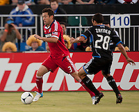 Santa Clara, California - Saturday July 28, 2012: Chicago Fire's Dan Gargan and San Jose Earthquakes' Jed Zayner in action during a game at Buck Shaw Stadium, Stanford, Ca    San Jose Earthquakes and Chicago Fire tied 0 - 0